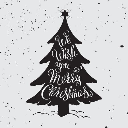 メリー クリスマス手は、イラストを描かれました。グランジ背景上のレタリングそして装飾的なデザイン要素です。招待状やグリーティング カード、版画、ポスターの 写真素材 - 48557085
