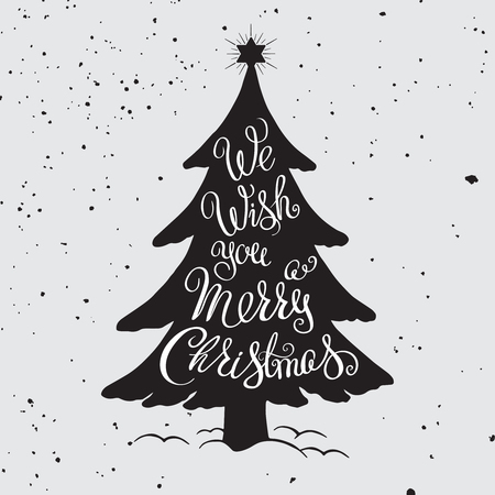 Merry Christmas hand drawn illustration. Lettering and decorative design elements on grunge background. For invitation and greeting card, prints and posters. Ilustração