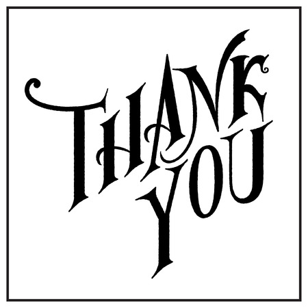 Thank You hand lettering.Calligraphic design for greeting card, prints and posters. Ilustração
