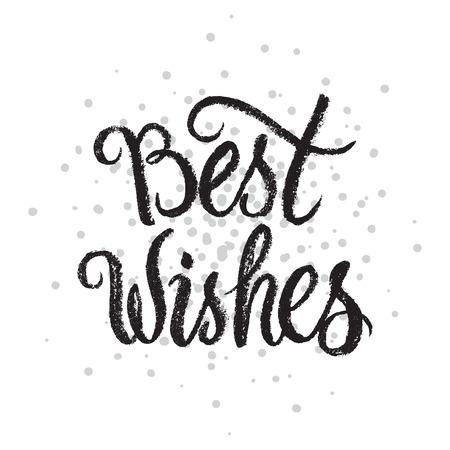 Best Wishes handwritten text on stipple background.Calligraphic Xmas and New Year holidays design. Ilustração
