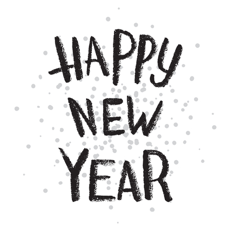 Happy New Year handwritten text on stipple background.Calligraphic Xmas and New Year holidays design.