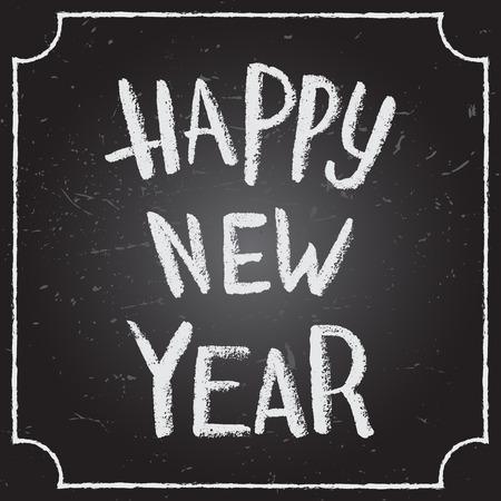 ハッピー新しい年書道とタイポグラフィ背景黒板チョーク word アートと。 写真素材 - 48557135