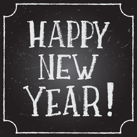 Happy New Year calligraphic and typographic background with chalk word art on blackboard.