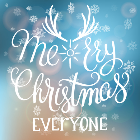 Merry Christmas Everyone handwritten text on blurred background with snowflakes.Calligraphic Xmas and New Year holidays design.