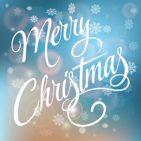 雪片で背景をぼかした写真のメリー クリスマス手書きテキスト。カリグラフィのクリスマスと新年の祝日デザイン。 写真素材 - 48557143
