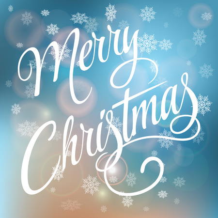 Merry Christmas handwritten text on blurred background with snowflakes.Calligraphic Xmas and New Year holidays design. Ilustração