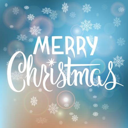 雪片で背景をぼかした写真のメリー クリスマス手書きテキスト。カリグラフィのクリスマスと新年の祝日デザイン。 写真素材 - 48557142