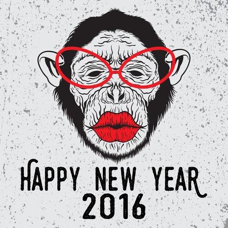 手は、ヒップスター チンパンジー猿キスしたいメガネのイラストを描いた。メリー クリスマスと新年あけましておめでとうございますタイポグラフィのデザインはプラカード デザイン、ポスター、印刷ファッション、t シャツ。 写真素材 - 48557145