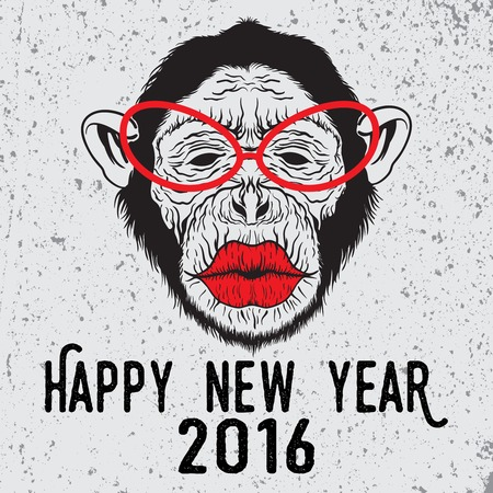 kiss lips: Hand drawn illustration on hipster chimpanzee monkey with glasses who want to kiss. Merry Christmas and Happy New Year typography design for placard design, posters, fashion print and t-shirts. Illustration