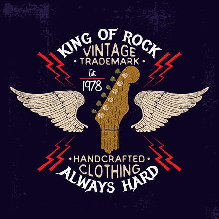 Guitar hoofd en vleugels rockmuziek embleem. Vintage typografie ontwerp voor t-shirts, kleding, prints. Vector Illustratie