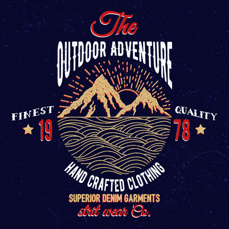 Mountain and sea adventure emblem. Vintage typography design for t-shirts,apparel,prints.