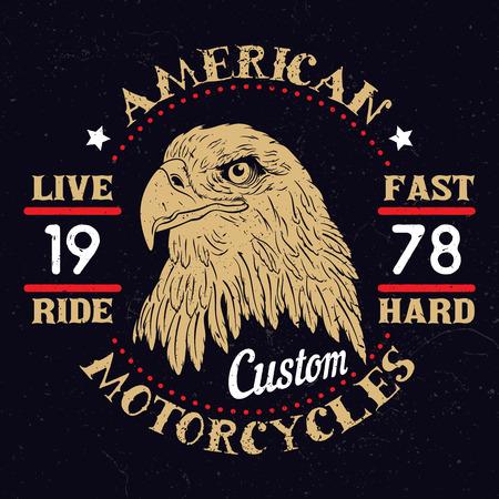 バイカー クラブ、カスタム ショップ、t シャツ、アメリカン ・ イーグル モーター サイクル Emblem.Vintage タイポグラフィ デザインを印刷します。 写真素材 - 52871685