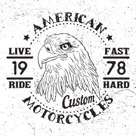バイカー クラブ、カスタム ショップ、t シャツ、アメリカン ・ イーグル モーター サイクル Emblem.Vintage タイポグラフィ デザインを印刷します。 写真素材 - 52871678
