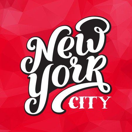 New York city typography brush pen design on triangulate background. For apparel,t-shirt,print,home decor elements.
