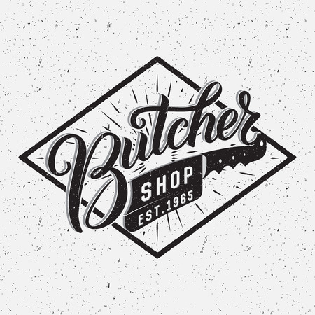 butcher: Butcher shop logotype. Retro typographic design. Brush Pen hand lettering.