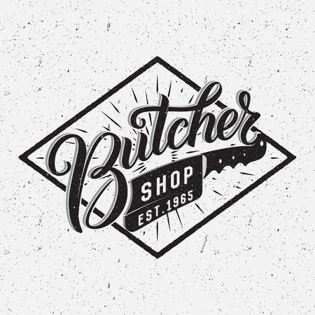 carnicero: Carnicería logotipo. retro diseño tipográfico. Pluma del cepillo de la mano de letras.