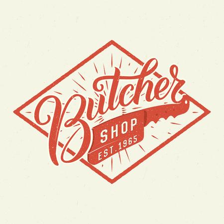 肉屋店ロゴ。レトロな文字体裁デザイン。筆ペンの手レタリングします。 写真素材 - 52875154
