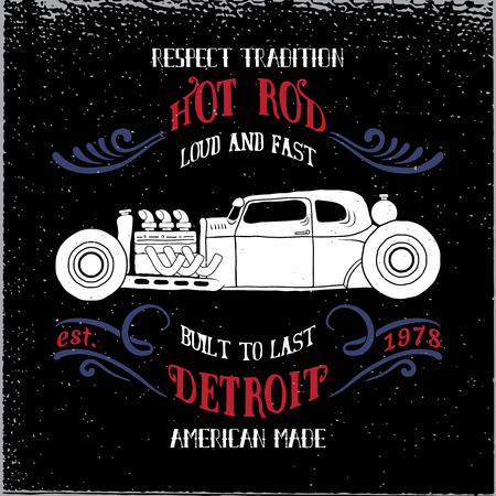 Hot rod vehicle design and decoration elements.Typography t-shirt design for apparel. Ilustração
