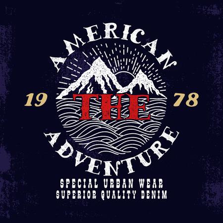 The American Adventure.Vintage style tee print design.
