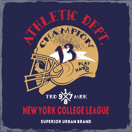 American football helmet, skull on grunge background.Typography t-shirt design for apparel. Ilustração