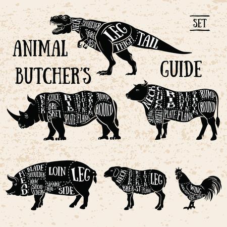Vintage Typography Guide for Cutting Meat. Butchery shop animal set. Ilustração
