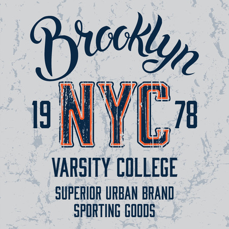 Brooklyn City vintage illustration. Tee or apparel print design with grunge effect.
