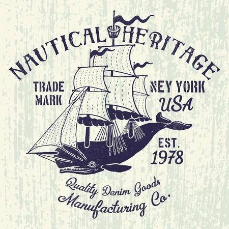 帆の図とクジラします。グランジ効果と印刷デザインの t シャツやアパレル。 写真素材 - 56719587