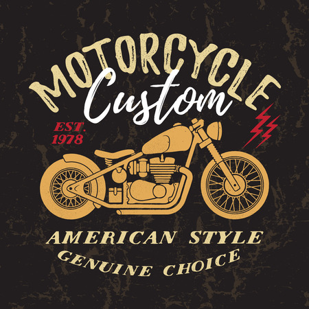 Custom Motorcycle t-shirt graphic. Vintage typography design for tee or apparel. Ilustração