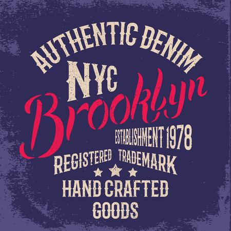ブルックリン市ヴィンテージのイラスト。グランジ効果と印刷デザインの t シャツやアパレル。 写真素材 - 56719593