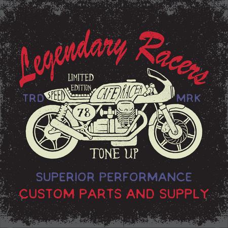 カフェ レーサー バイクのイラスト。グランジ効果と印刷デザインの t シャツやアパレル。 写真素材 - 56719588