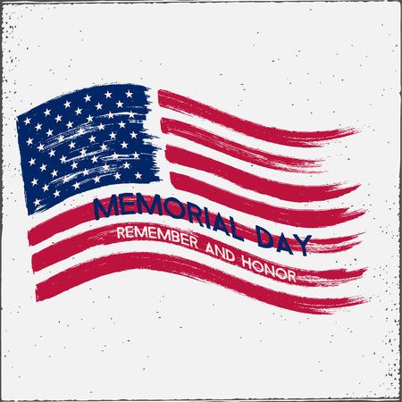 Memorial Day hand drawn illustration. Grunge effect.