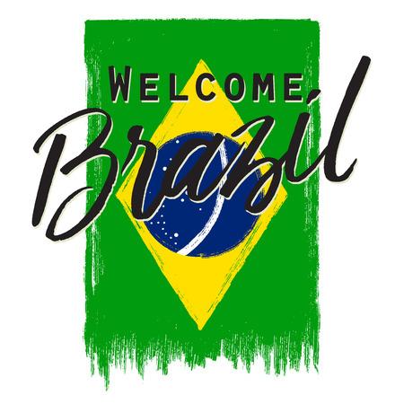 grunge national Brazil flag with phrase.