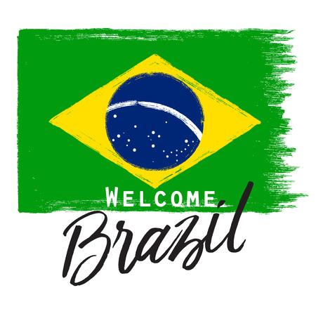 グランジ フレーズのブラジル国旗。 写真素材 - 57016262