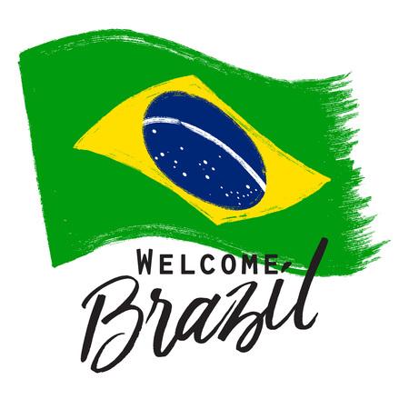 brasilia: grunge national Brazil flag