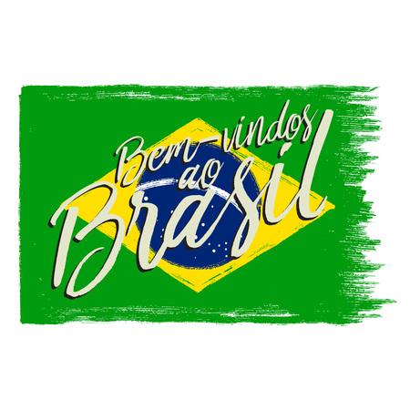 グランジ フレーズのブラジル国旗。  イラスト・ベクター素材