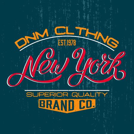 New York vintage calligraphic handwritten tee apparel fashion design print.