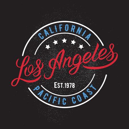 angeles: Los Angeles vintage calligraphic handwritten tee apparel fashion design print.