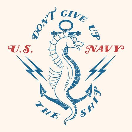 古い学校米国海軍設計。雷とテキストの背景のアンカーと海の馬。背景に分離されました。