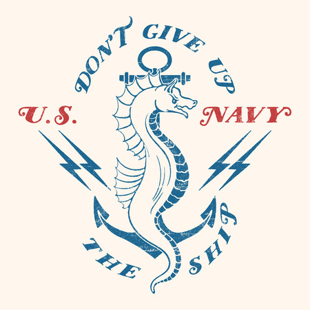 Old school US Navy design. Sea horse with an anchor on a background of the lightning and text. Isolated on background.
