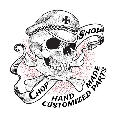 オールドスクール バイク ショップのエンブレム。クロスボーンとリボンの背景に帽子の頭蓋骨。白い背景上に分離。