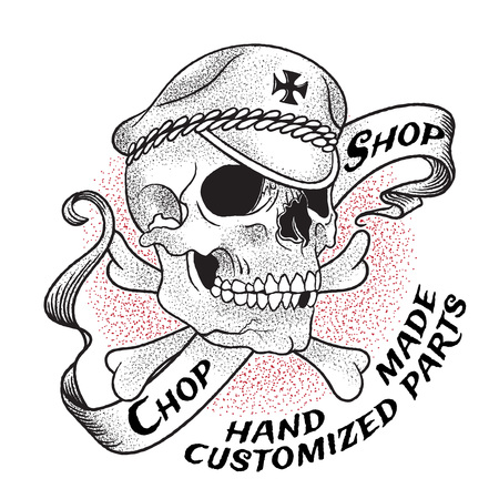 Old school biker shop emblem. Skull in a hat on a background of crossbones and ribbon. Isolated on white background.