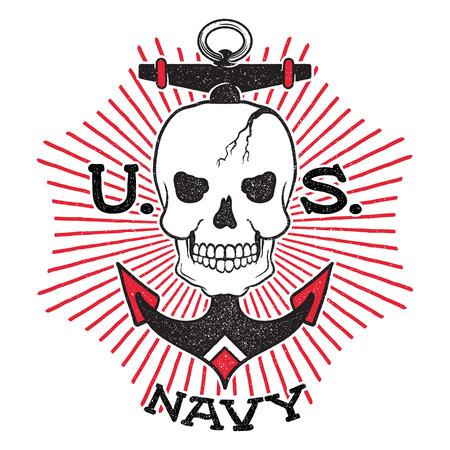 古い学校米国海軍設計。太陽光線の背景上のアンカーの頭骨。白い背景上に分離。