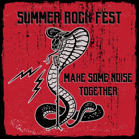Summer rock fest illustration. Snake with microphone and lightning. Vintage print design.