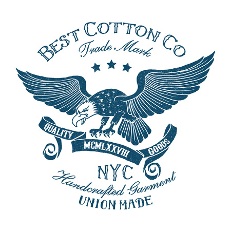 Vintage tee print design with eagle,ribbon and type.