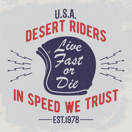 In speed we trust. Motorcycle helmet with signs on grunge background. Design element for t-shirt print, poster, emblem, badge, sign.