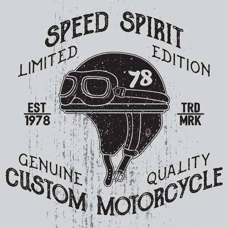 Speed spirit.. Motorcycle helmet with signs on grunge background. Design element for t-shirt print, poster, emblem, badge, sign.