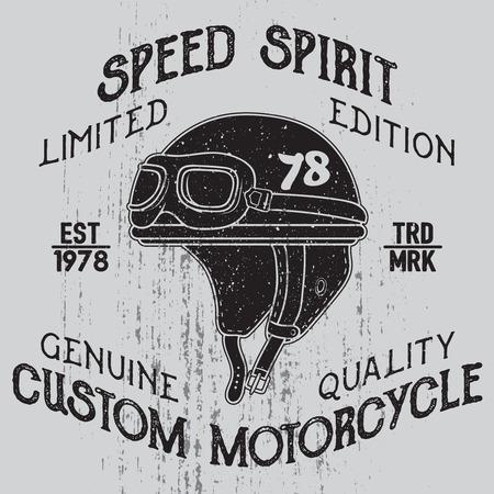 Speed spirit.. Motorcycle helmet with signs on grunge background. Design element for t-shirt print, poster, emblem, badge, sign.