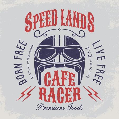 Gratis gratis leven geboren. Motorhelm met tekens op grungeachtergrond. Ontwerpelement voor t-shirt afdrukken, poster, embleem, badge, teken. Stock Illustratie
