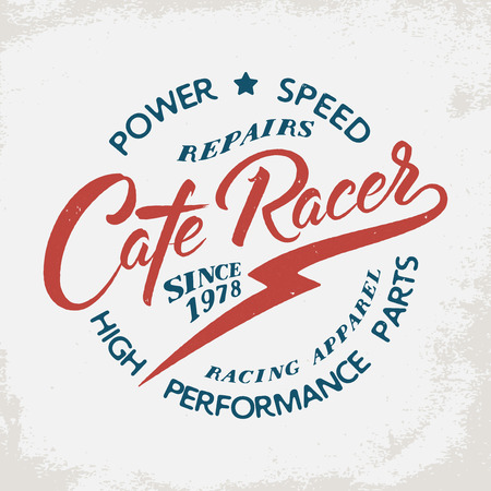 カフェ レーサー。グランジ背景にオートバイ印。ポスター、エンブレム、バッジ、看板、t シャツのデザイン要素を印刷します。  イラスト・ベクター素材