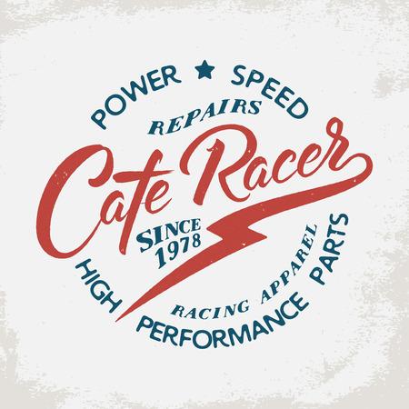 Cafe Racer. Motorcycle borden op grunge achtergrond. Design element voor t-shirt print, poster, embleem, kenteken, teken.
